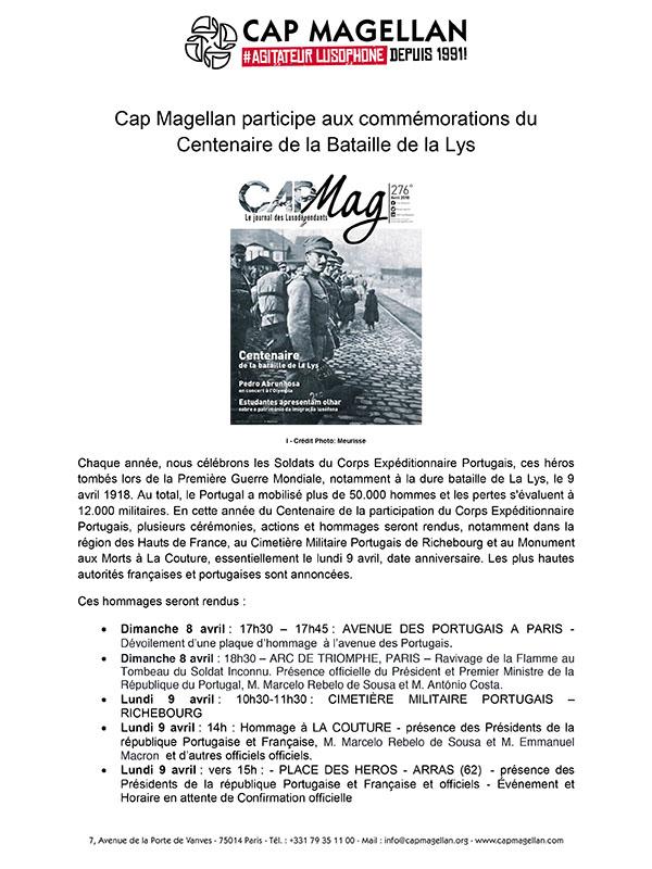 180404 - Cap Magellan aux commemorations du Ce ntenaire de la Bataille de la Lys - FR +PT-1