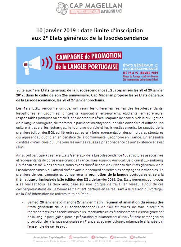 10 janvier 2019 date limite inscription 2e Etats généraux de la lusodescendence